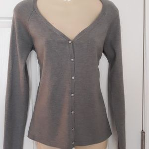Ann Taylor silk blend grey cardigan Size M